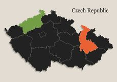 Il nero della mappa della repubblica Ceca colora gli stati separati della lavagna singoli Fotografia Stock Libera da Diritti