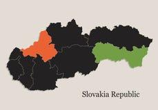 Il nero della mappa della Repubblica della Slovacchia colora gli stati separati della lavagna singoli Immagine Stock Libera da Diritti