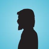 Il nero della siluetta di Side Head Beard dell'uomo d'affari Immagine Stock