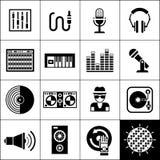 Il nero delle icone del DJ Fotografia Stock