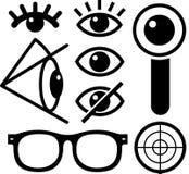 Il nero delle icone dell'occhio umano illustrazione vettoriale