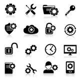 Il nero delle icone delle regolazioni Fotografie Stock Libere da Diritti