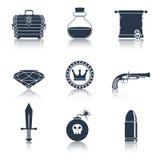 Il nero delle icone delle risorse del gioco Fotografia Stock Libera da Diritti