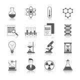 Il nero delle icone di chimica illustrazione vettoriale