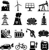 Il nero delle icone di energia illustrazione di stock