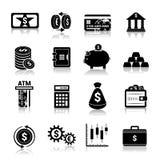 Il nero delle icone di finanza dei soldi Immagine Stock Libera da Diritti