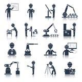 Il nero delle icone di ingegneria illustrazione di stock