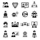 Il nero delle icone di riunione d'affari Fotografia Stock
