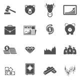 Il nero delle icone di scambio di finanza Immagini Stock Libere da Diritti