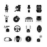 Il nero delle icone di sicurezza dell'automobile Fotografia Stock