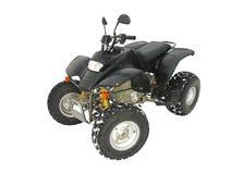 Il nero di ATV tutto il veicolo del terreno su neve bianca Immagini Stock