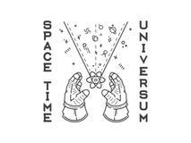 Il nero di esplorazione di umanità di universum di tempo di spazio sul backgro bianco Fotografia Stock