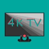 il nero di 4k TV sul fondo piano di colore di stile Fotografia Stock Libera da Diritti