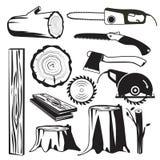 Il nero di legno dei tronchi Immagini monocromatiche di industria di silvicoltura dell'albero di vettore di legno degli elementi royalty illustrazione gratis