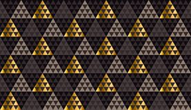Il nero di lusso della geometria, oro e vettore senza cuciture beige Immagini Stock