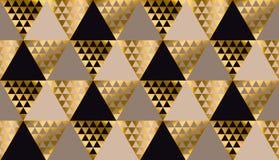 Il nero di lusso della geometria, oro e vettore senza cuciture beige illustrazione di stock