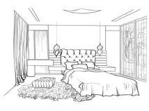 Il nero di progettazione della camera da letto Fotografia Stock