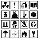 Il nero di simboli dell'imballaggio Immagine Stock Libera da Diritti