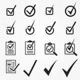 Il nero di vettore conferma le icone messe Icone universali di vettore Fotografie Stock Libere da Diritti