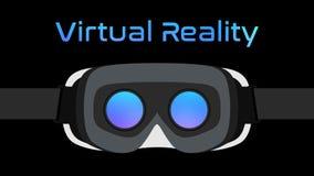 Il nero di vettore della cuffia avricolare degli occhiali di protezione VR di realtà virtuale immagine stock libera da diritti