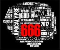 Il nero di vettore della nube di 666 parole Fotografia Stock