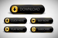 Il nero e bottoni di web dell'oro Immagini Stock