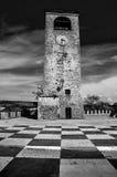 Il nero e briciolo del pavimento della scacchiera della torre di orologio di Castelvetro Modena immagini stock libere da diritti