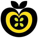Il nero e colore giallo del pittogramma del Apple Fotografia Stock