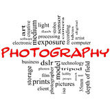 Il nero e colore rosso di concetto della nube di parola di fotographia illustrazione di stock