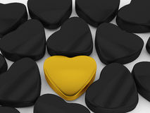 Il nero e cuore dell'oro Fotografia Stock