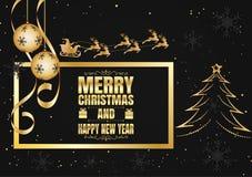 Il nero e fiocco di neve e Santa dell'oro per il Natale ed il buon anno, illustrazione di vettore Fotografie Stock