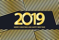 Il nero e fondo dell'oro con il Buon Natale dell'iscrizione 2019 royalty illustrazione gratis
