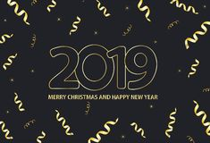 Il nero e fondo dell'oro con il Buon Natale dell'iscrizione 2019 illustrazione di stock