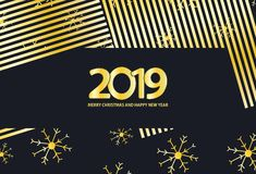 Il nero e fondo dell'oro con i fiocchi di neve e l'iscrizione 2019 royalty illustrazione gratis