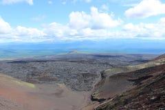 Il nero e frassino rosso americano, valle delle colline, dopo l'eruzione vulcanica Fotografie Stock Libere da Diritti