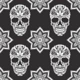Il nero e Gray Flower Skull Pattern Immagini Stock Libere da Diritti