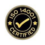 Il nero e l'oro colorano l'iso 14001 certificato con la st rotonda dell'icona del segno Immagini Stock