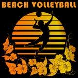 Il nero e logo delle bande dell'oro con la siluetta del giocatore di pallavolo Fotografia Stock Libera da Diritti
