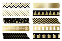Il nero e nastri di washi di Natale dell'oro Insieme di vettore del nastro adesivo fotografie stock libere da diritti