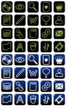 Il nero ed azzurro del pacchetto dell'icona Immagini Stock Libere da Diritti