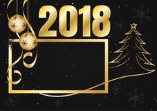 Il nero ed il fiocco di neve dell'oro per il Natale condiscono, Vector l'illustrazione del Buon Natale 2018 Immagine Stock