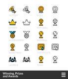 Il nero ed il colore descrivono le icone, linea sottile progettazione del colpo di stile Immagini Stock
