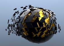 Il nero ed oro 3d astratto rotto sfera Fotografia Stock