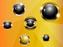 Il nero ed oro della palla su un fondo dell'oro Immagini Stock Libere da Diritti