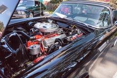 Il nero Ford Thunderbird 1956 Fotografia Stock