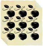 Il nero grafico delle mele su documento giallo Fotografia Stock