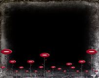 Il nero Grungy con i fiori rossi Fotografia Stock