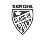 Il nero ha colorato una classe senior di segno di 2017 testi con l'illustrazione di vettore delle stelle Fotografia Stock