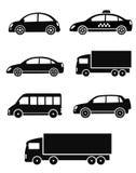 Il nero ha isolato le automobili messe illustrazione vettoriale