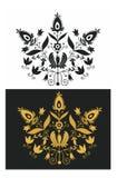 Il nero ornamentale ed oro Immagine Stock